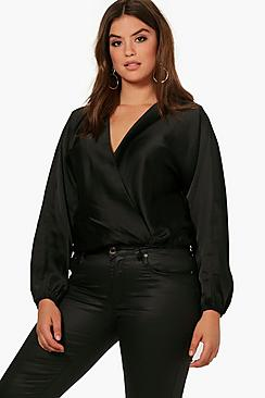 Plus Kartina Power Schultern Bluse mit Wickelung - Boohoo.com