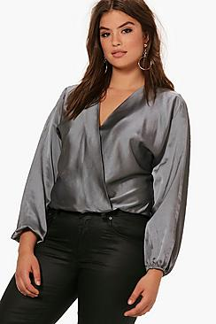 Plus Power Schultern Bluse mit Wickelung - Boohoo.com
