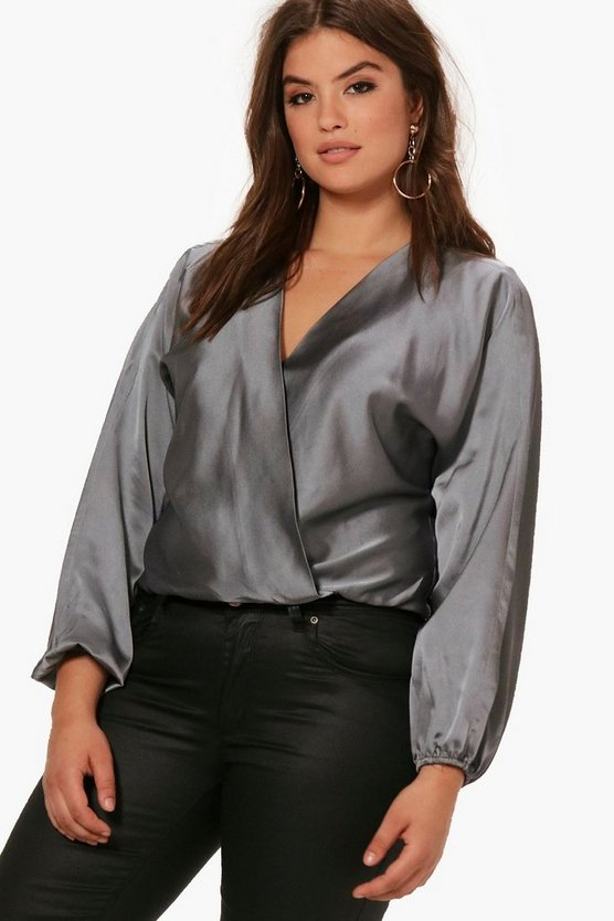 Plus Kartina Power Shoulder Wrap Blouse