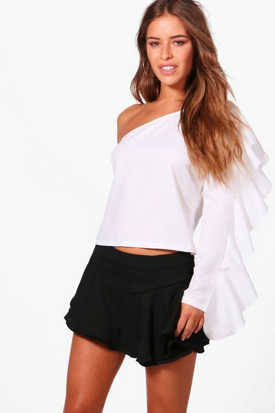 Petite Yana One Shoulder Ruffle Woven Top