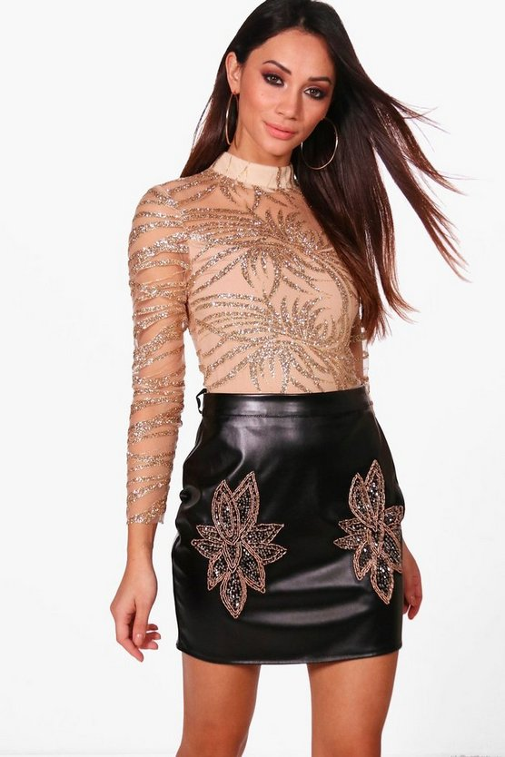 Petite Kate High Neck Sequin Detail Bodysuit