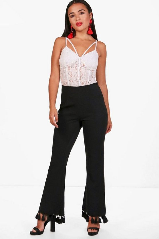 Petite Melissa Tassel Hem Tailored Trouser