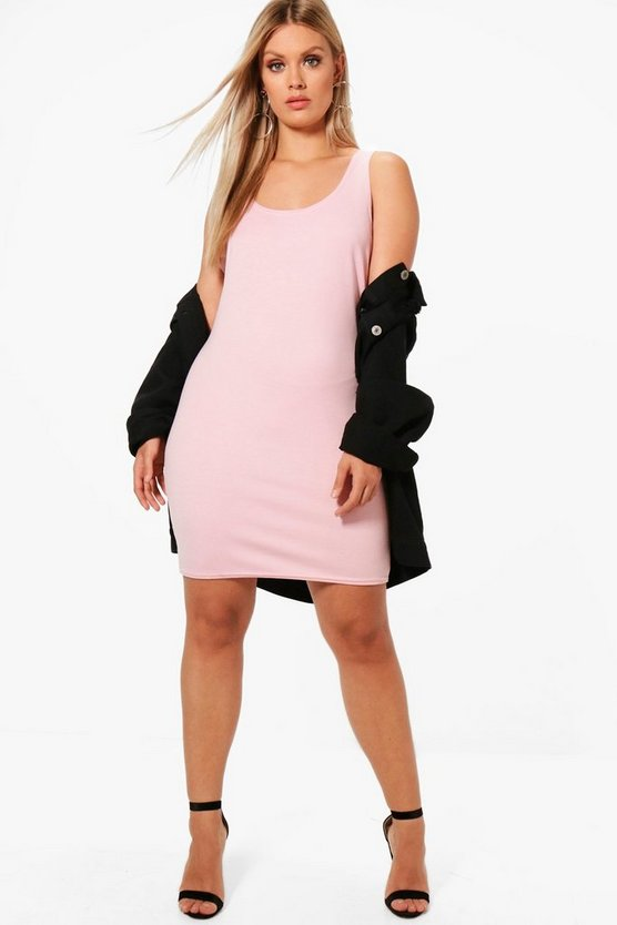 Plus Jess Ponte Scoop Neck Bodycon Dress