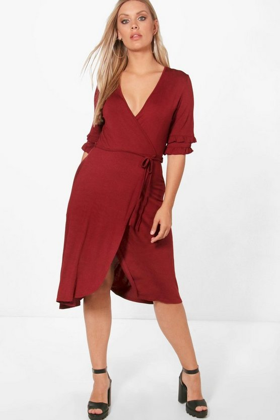 Plus Jenny Wrap Frill Skater Dress