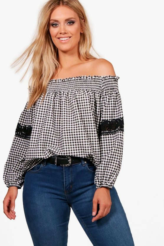 Plus Lauren Gingham Off Shoulder Top