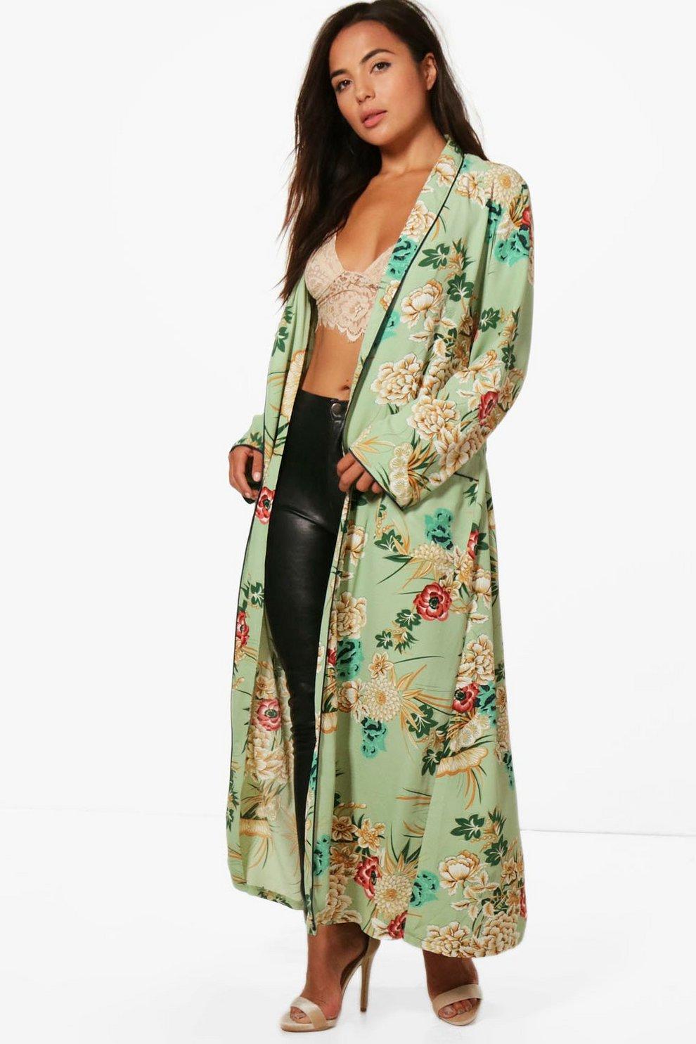 Petite Char Premium Oriental Floral Kimono Jacket | Boohoo