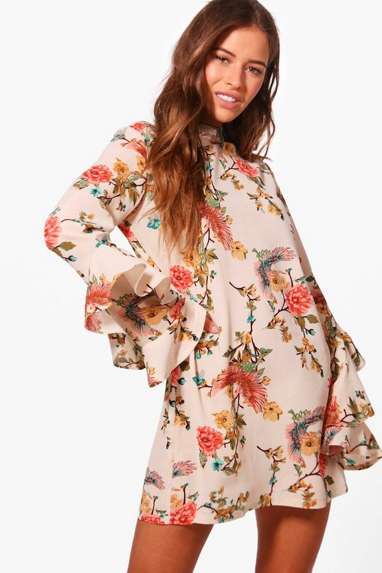 Petite Floral Ruffle Sleeve Shift Dress