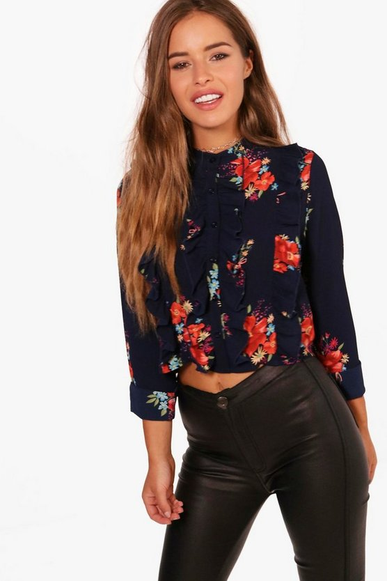 Petite Kerry Floral Ruffle Detail Shirt