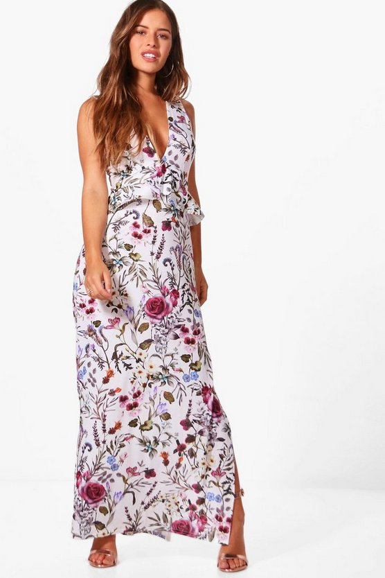 Petite Floral Ruffle Detail Maxi Dress