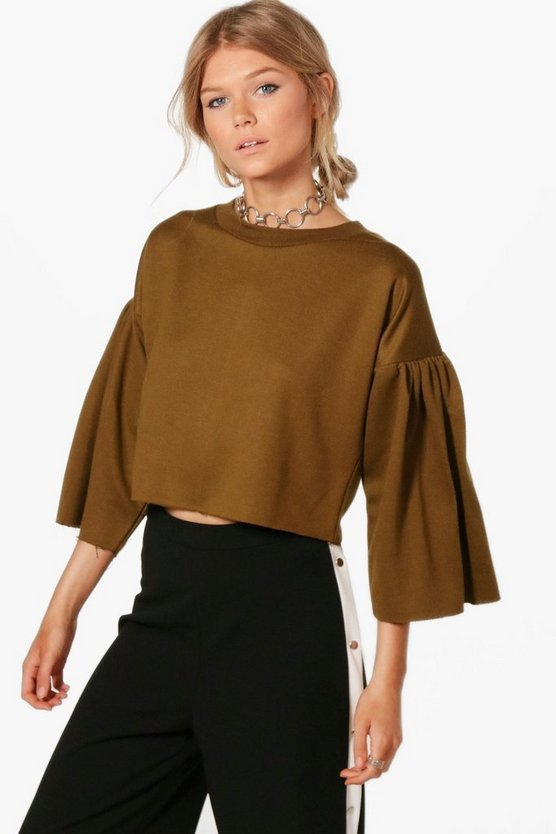 Petite Milly Drop Sleeve Loop Back Sweat