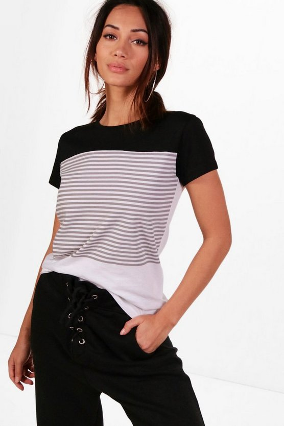 Petite Emma Colour Block Stripe T-Shirt