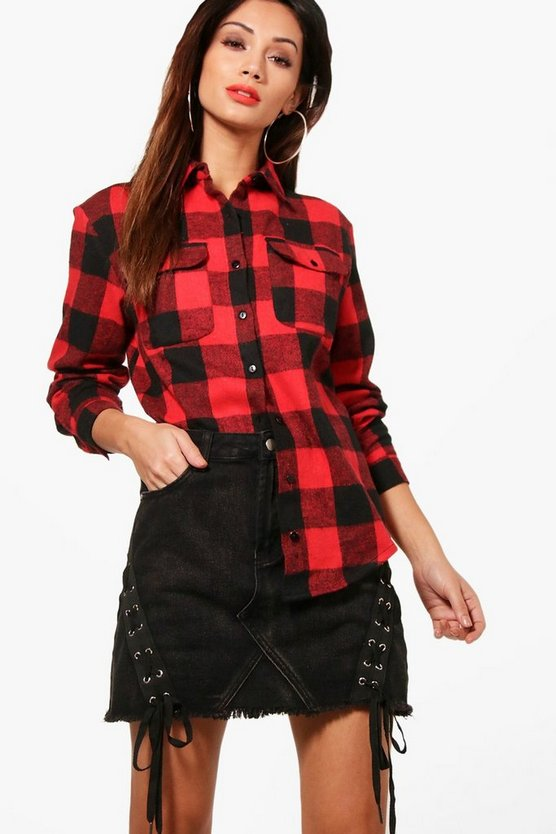 Petite Jenny Oversized Check Shirt