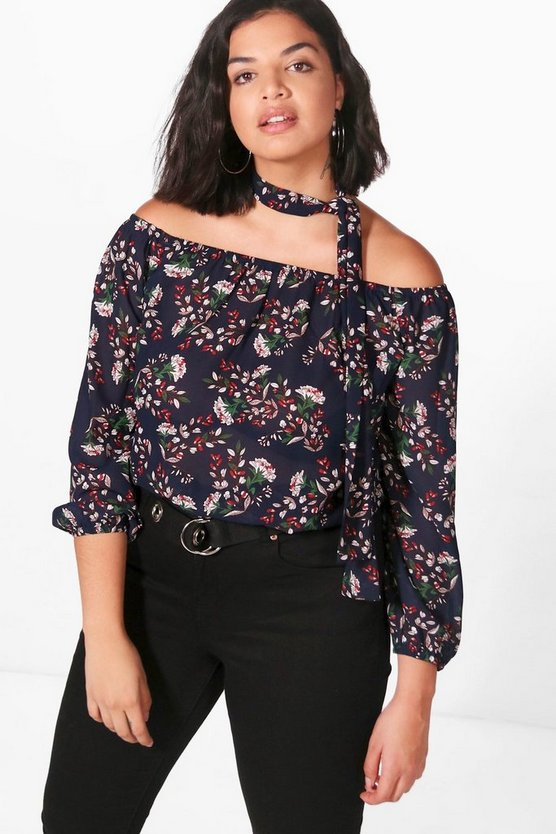 Plus Stacey Printed Bardot Tie Neck Bardot Top