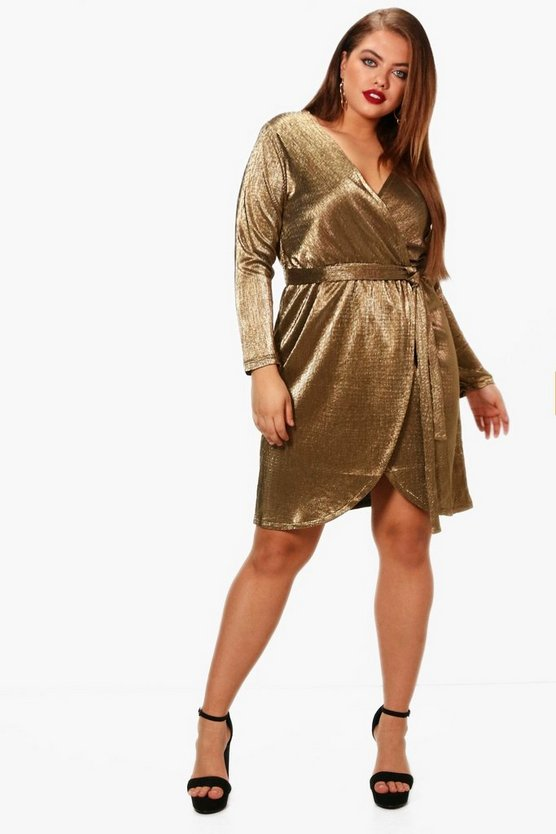 Plus Metallic Pleat Wrap Dress