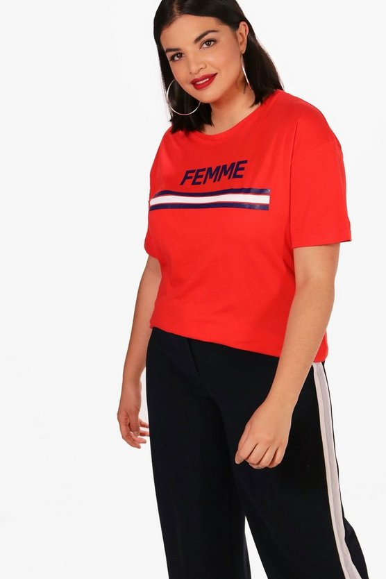 Plus Holly Femme Slogan T-Shirt