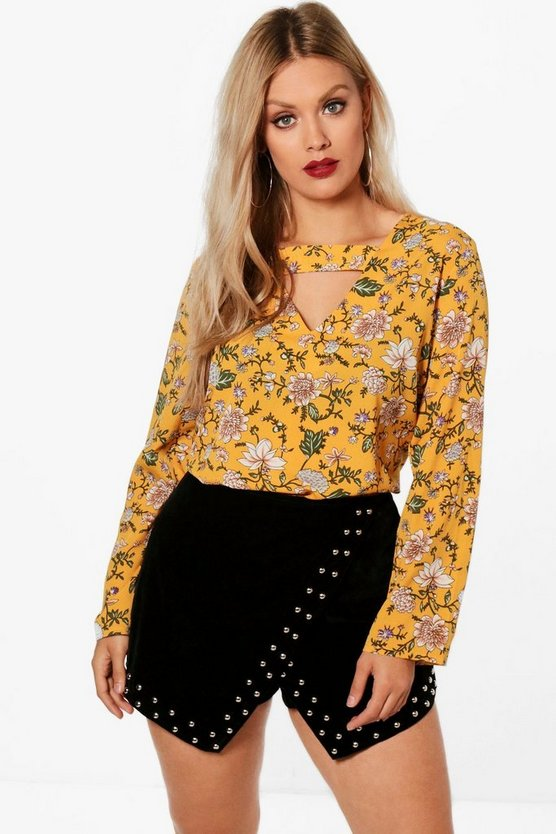 Plus Bethany Cut Out Detail Woven Floral Blouse