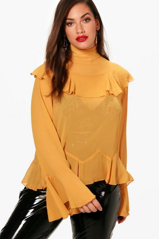 Plus Alana Chiffon Ruffle Wide Sleeve Top