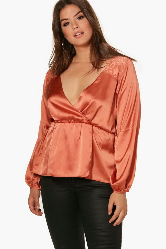 Plus Stacey Drape Front Lace Panel Blouse