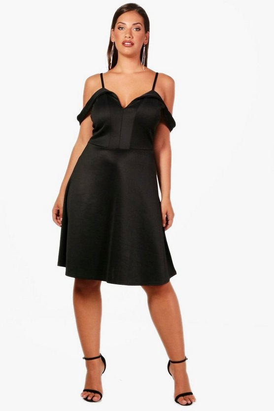 Plus Jessica Off The Shoulder Pleat Skater Dress