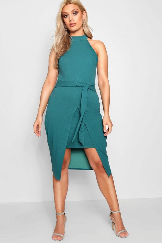 Plus Lucy High Neck Split Front Midi Dress