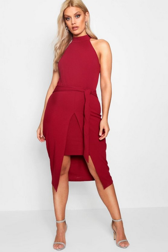 Plus High Neck Split Front Midi Dress