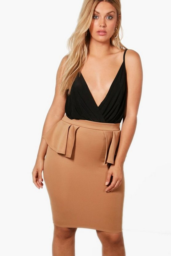 Plus Sarah Split Peplum Midi Skirt