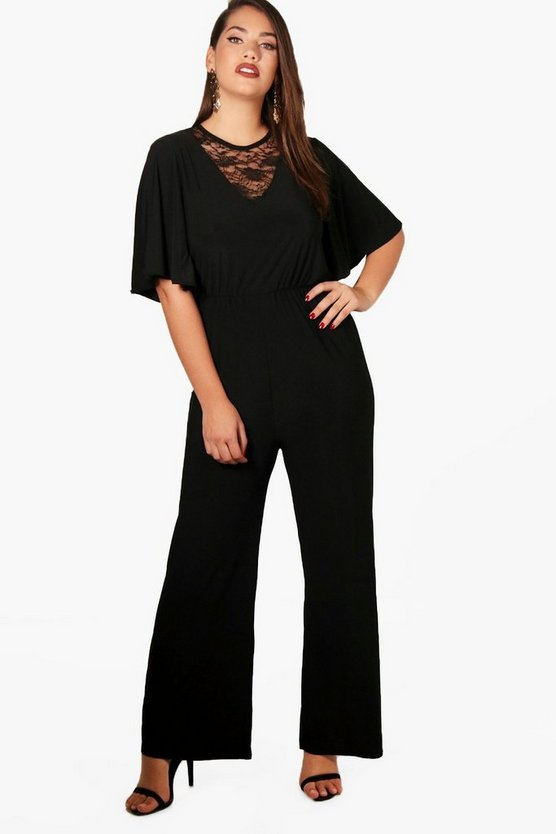 Plus Milly Wide Leg V Neck Lace Jumpsuit
