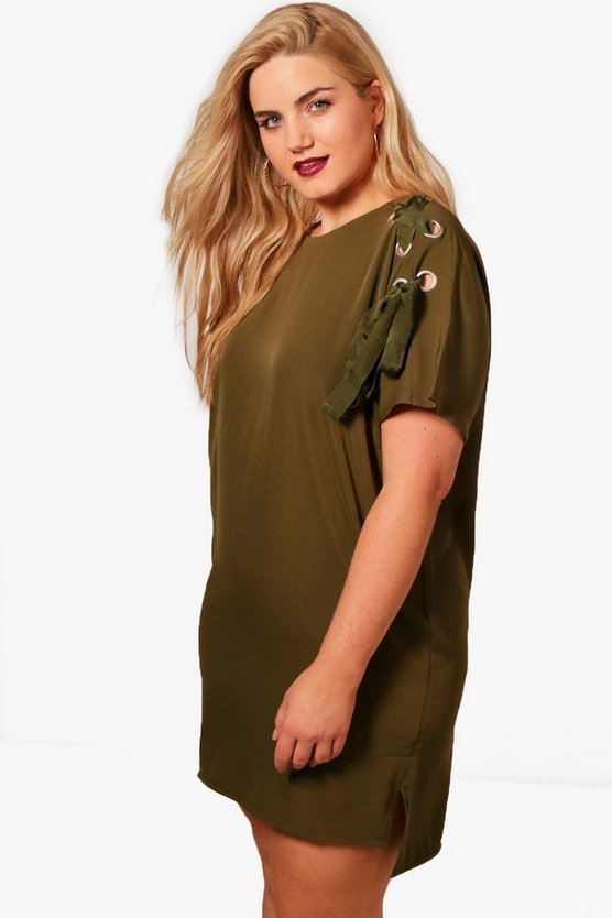 Plus Olivia Eyelet Lace Up Shift Dress