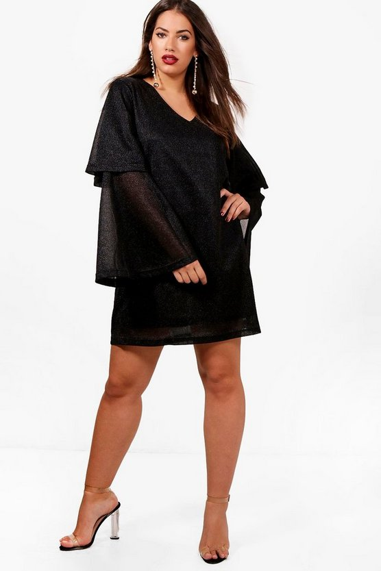 Plus Ava Glitter Tiered Sleeve Plunge Shift Dress