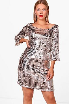 Plus Shauna Sequin Shift Dress