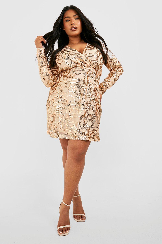 Womens Plus - Zweifarbiges Paillettenkleid im Wickeldesign - rosé - 44, Rosé - Boohoo.com