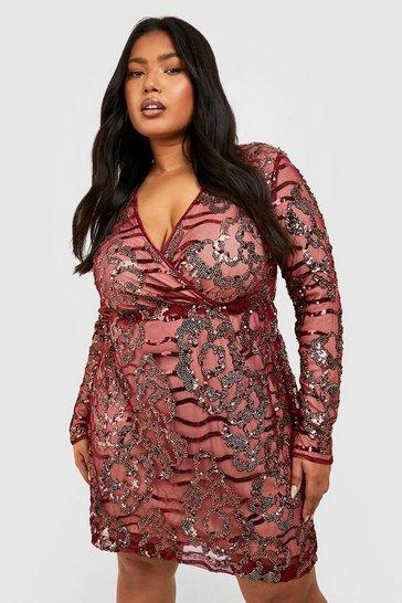 Wine Plus Two Tone Wrap Sequin Dress