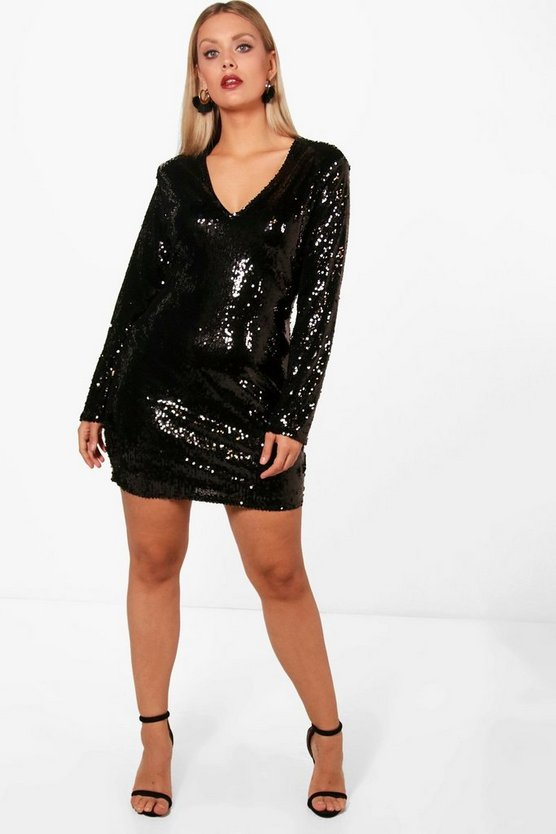 Plus Molly Sequin Extreme Plunge Bodycon Dress