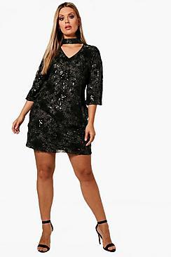 Plus Patterned Sequin Choker Dress