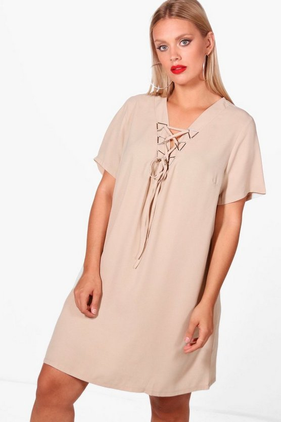 Plus Millie Trim Detail Lace Up Shift Dress