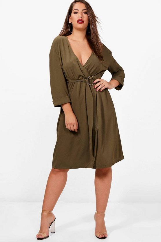 Plus Molly Ring Belted Wrap Dress