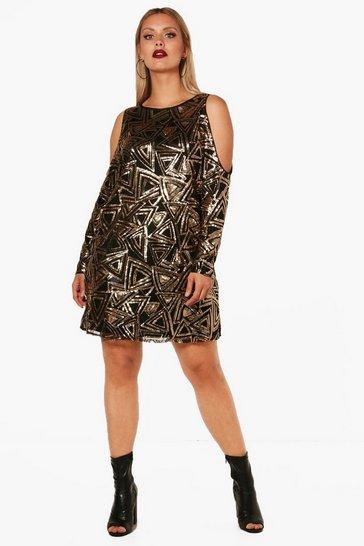 Bronze Plus Open Shoulder Pattern Sequin Dress