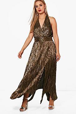 Plus Paige Metallic Pleat Hanky Hem Wrap Dress