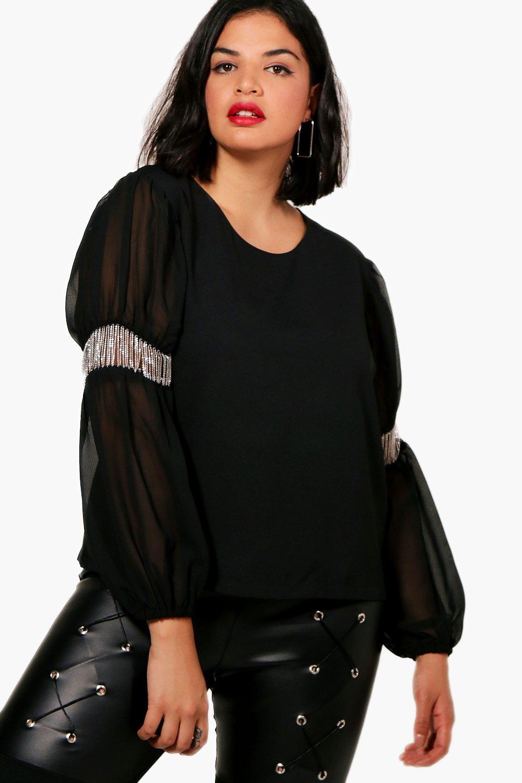 Womens Plus Katie Metall Bluse mit Kettenbesatz - schwarz - 50, Schwarz - Boohoo.com