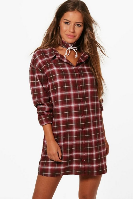 Petite Sarah Checked Lace Up Choker Shirt Dress