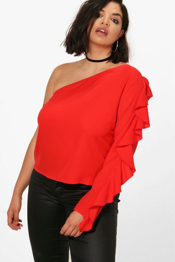 Plus Kelly One Shoulder Ruffle Woven Top