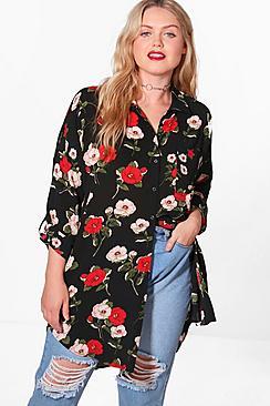 Plus Emily Floral Oversize Shirt