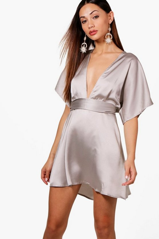 Petite Nancy Batwing Satin Skater Dress