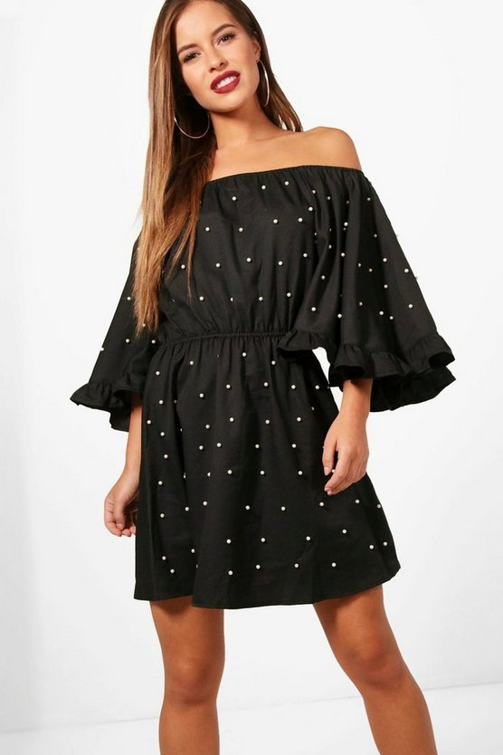 Petite Cindy Bardot Ruffle Sleeve Skater Dress