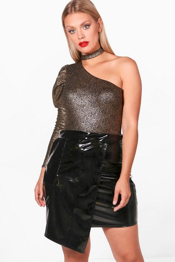 Plus Jodie Metallic One Shoulder Bodysuit