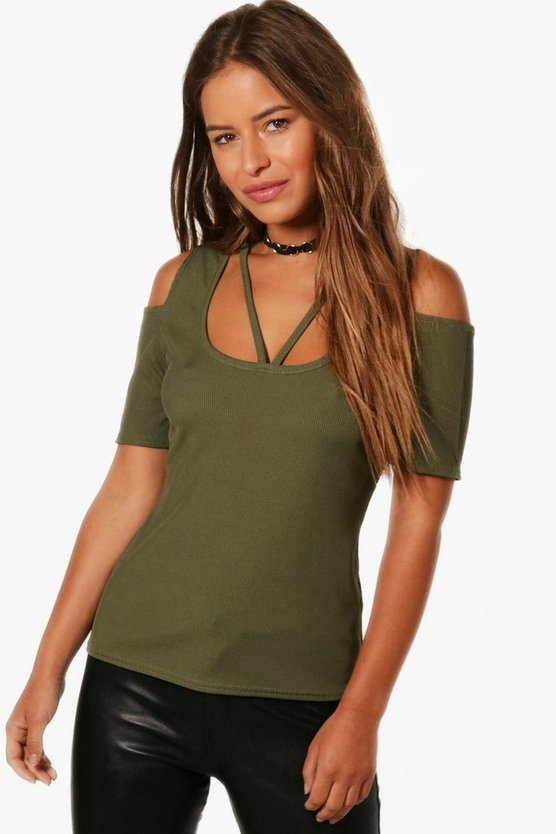 Petite Jane Rib Cold Shoulder Neck Detail Top