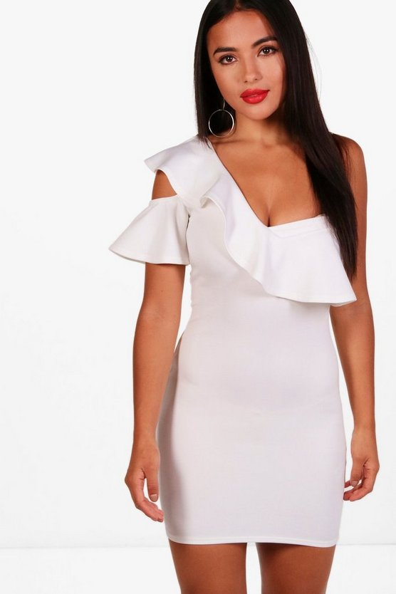 Petite Olivia One Shoulder Frill Cut Out Dress
