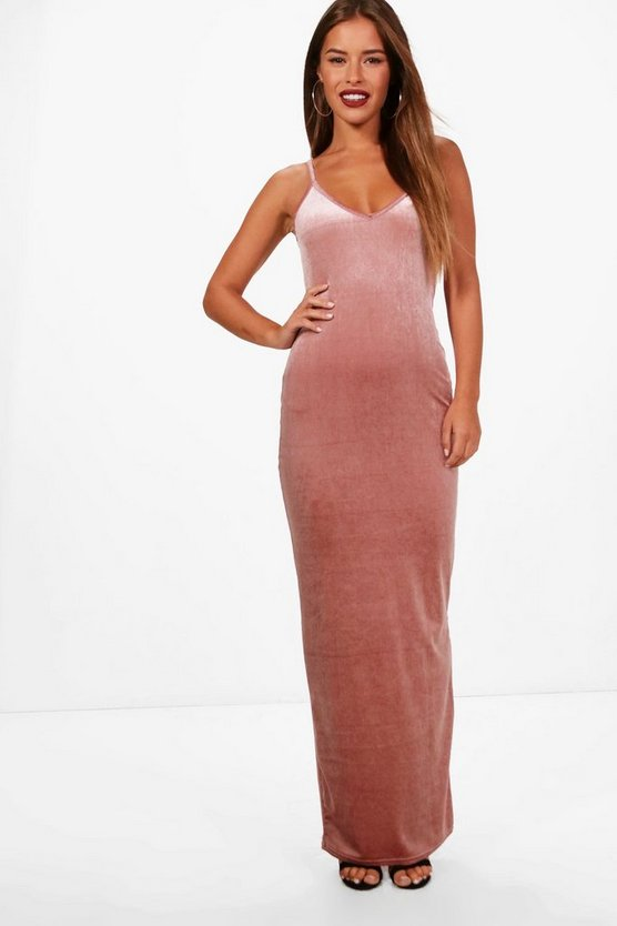 Petite Erin Strappy Velvet Maxi Dress