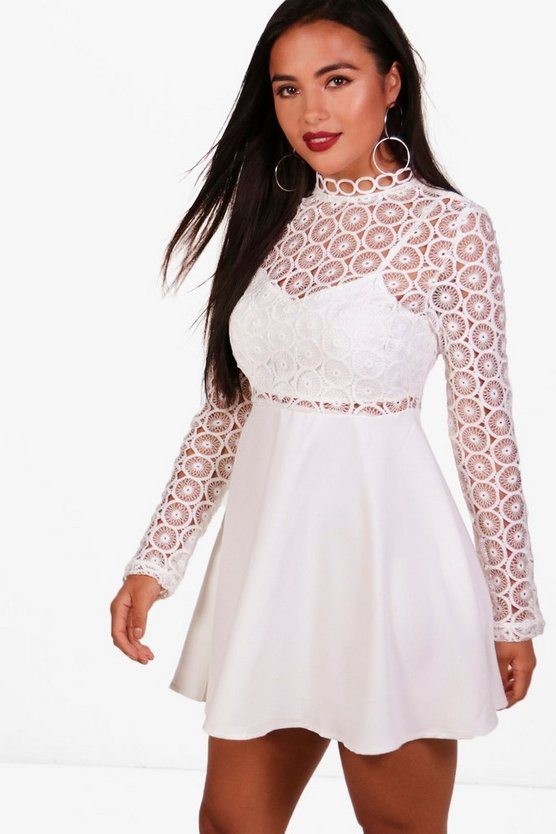 Petite Premium Lucy Lace Turtle Neck Skater Dress