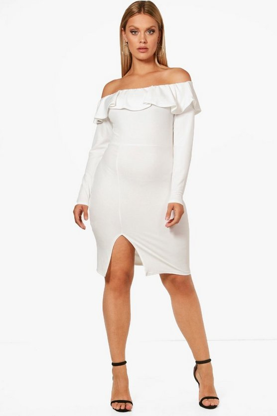 Plus Erin Crepe Frill Long Sleeve Midi Dress